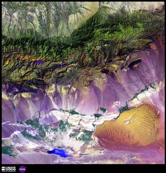 Bogda Mountains, China satellite image from USGS